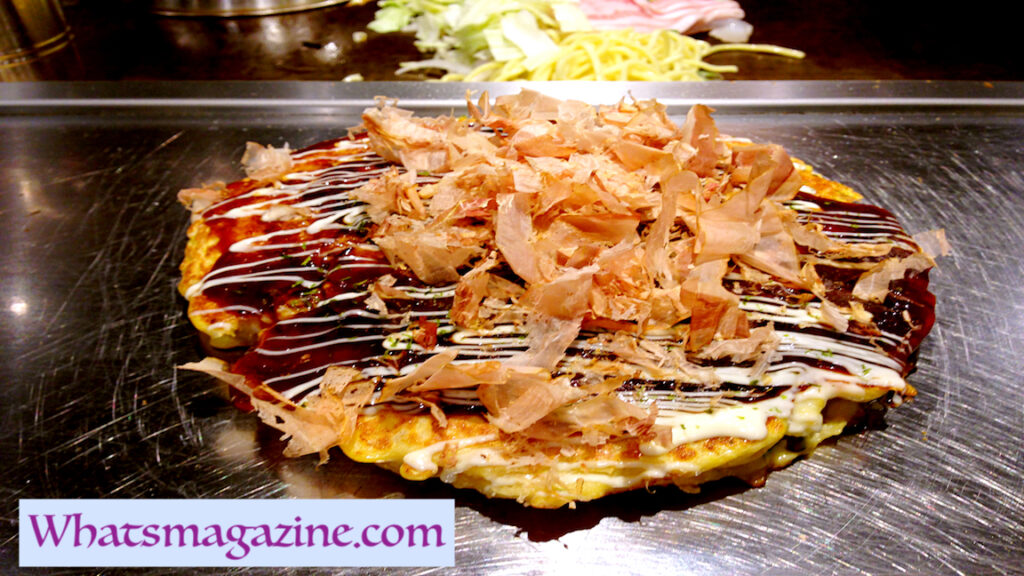 Anime food  This is just a pancake you've never attempted previously. Okonomiyaki is a cabbage pancake that's topped with an exceptional Worcestershire mixed sauce.
