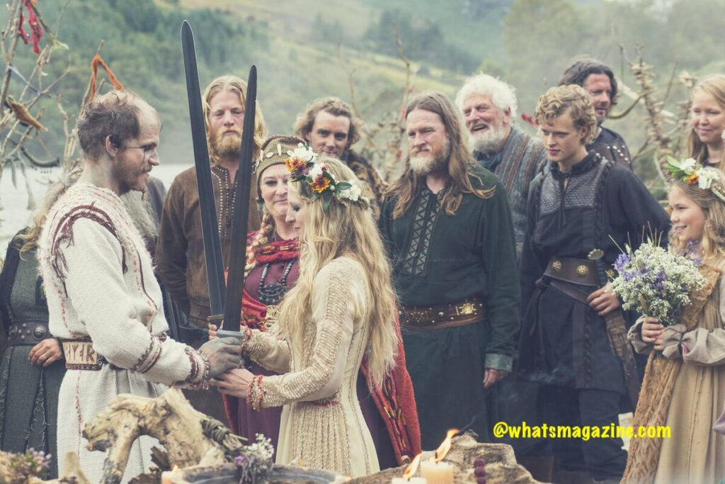 Exchanging paintings and Swords on Viking wedding